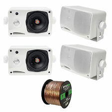 4 x Pyle 3.5'' 200 Watt 3-WayMarineSpeakers (White),  16-G 50 Ft Speaker Wire