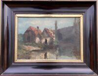 Häuser am Fluss Stuttgart Gustav Schraegle (1867-1925) Süddeutschland 52 x 66 cm