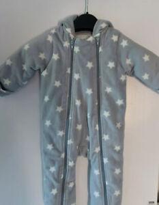 M&S Baby Snowsuit All In One Fleece Pramsuit Grey Stars  9-12 Months boys unisex