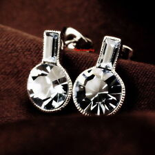 White Gold Fill Clear Round Drop Stud Earring Made With Swarovski Crystal IE112