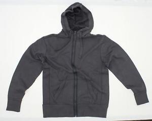 nEW District Threads Men's Full Zip Fleece Hooded Sweatshirt Charcoal Grey XS