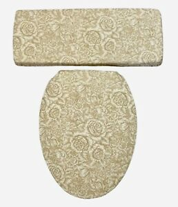 Oatmeal Beige Rose Floral Contemporary Country Toilet Seat & Tank Lid Cover Set