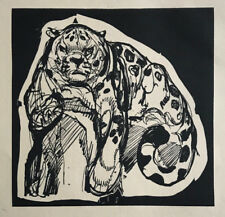 GRAVURE sur Bois Art Deco PANTHERE de PAUL JOUVE woodcut tigre tiger panther