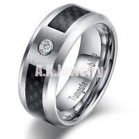 8mm Mens Tungsten Carbide Black Fiber CZ Stone Wedding Anniversary Band Ring