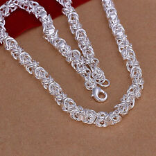 "Free Shipping Sterling Solid Silver Fashion 7mm*20"" Men's Chain Necklace N061"