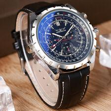 JARAGAR Black Dia Leather Band Mechanical Sport Aviator Army Men Wrist Watch