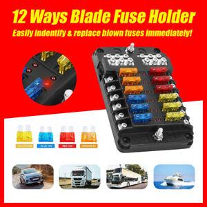 Blade Fuse Box 12-Way 12V 32V Block Holder LED Indicator Auto Marine Waterproof