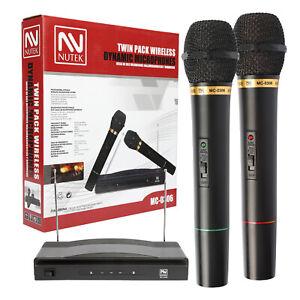 Pro Wireless Microphone 2 Channel Dual Dynamic MIC VHF/FM Karaoke W/Receiver US
