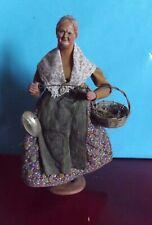 Ancien Santon de Provence signé S Jouglas  31cm Maraîchère fermière balance