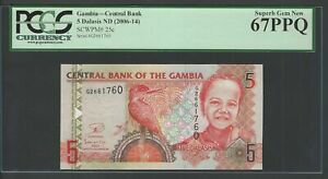 Gambia 5 Dalasis ND(2006-14) P25c Uncirculated Graded 67