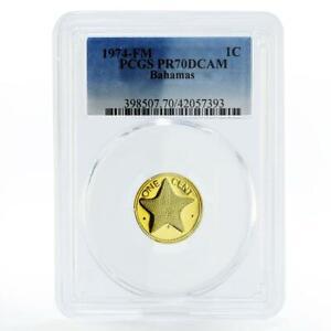 Bahamas 1 cent Sea Star PR70 PCGS proof brass coin 1974