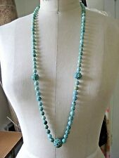 "Antique Chinese Natural Turquoise Carved Bead 36"" Necklace with Lucky Beads"