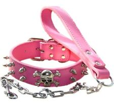 Skull Spiked Studded Leather Dog Collar + Chain Leash set for Pit Bull Terrier