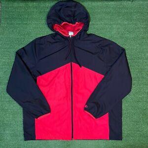 Vintage Starter Red & Black Zip Up Hooded Windbreaker Jacket - 2XL