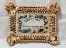 "Antique Sailor's Valentine SEA SHELL ART PICTURE FRAME, (9-1/4x7-1/4"")"