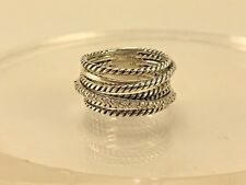 David Yurman Sterling Silver 925 Crossover Wide Cable Pave Diamond Ring Size 5