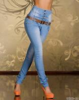 Women's Blue Skinny Jeans High Waisted Slim Style Jeans Belt Included UK SELLER