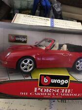 new Bburago  1/18  Porsche 911 Carrera CABRIOLET RED Made Italy