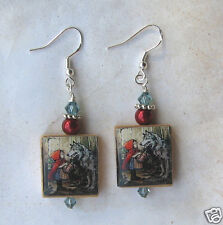 Little Red Riding Hood & Big Bad Wolf Earrings Vintage Altered Art Scrabble