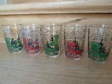 5 alte Gläser Trinkgläser Limogläser mit Oldtimern Vintage 50er/60er Jahre