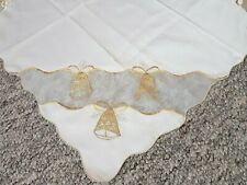 VINTAGE Christmas Embroidered TABLECLOTH Germany Christmas Decor Golden Bells