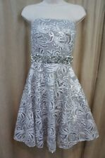 Betsy & Adam Dress Sz 10 Grey Strapless Embellished Dinner Cocktail Dress A15044