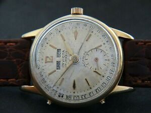 VTGE RARE INVICTA TRIPLE DATE WATERPROOF  MEN WATCH. 1950s. SERVICED. NICE