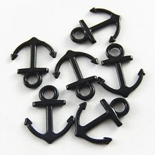 40pcs Black Tone Alloy Boat Anchor Shaped Charm Pendant Finding Craft 37821