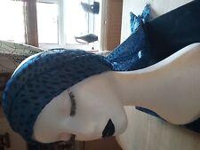 Blue leopard print head scarf