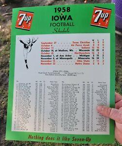 1958 Iowa Football Schedule cardboard Poster 1959 Rosebowl 7up Advertising