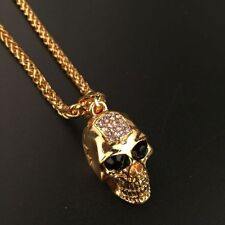 Mens Stainless Steel Gold Wheat Chain CZ Skull Pendant Necklace + Box #NE36