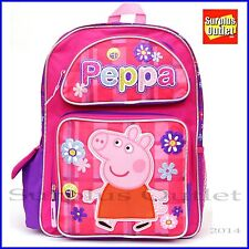 "Peppa Pig 16"" Large School Backpack Book Bag New"