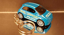 Blue Fiat 500 Coupe Key Chain Ring Police Car Diecast 2 Door