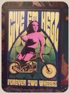 "Give Em Hell"" biker chopper 13x19 wood framed original retro 1960s print harley"