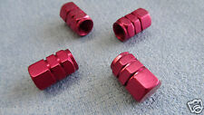 ALFA ROMEO RED FULL METAL DUST VALVE CAPS TYRE WHEEL SOLID HEXAGON COVER