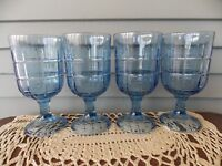 Set of 4 Vintage Anchor Hocking Blue Glass Stem Goblets w Block Pattern 6 3/4""
