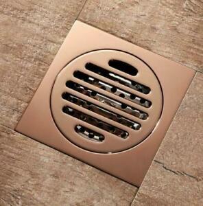 Square Bathroom Rose Gold Brass Deodorant Shower Floor Drain Waste Grate Drainer