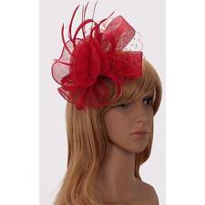 red FASCINATOR HAIR feather hessian comb FLOWER HATINATOR NM 208 WEDDING hat
