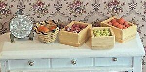 Vintage Dollhouse Handmade Filled Fruit Vegetable Crates Basket Miniatures 1:12