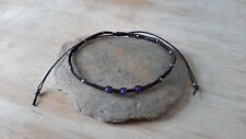 Handmade Woven Purple Silver Plated Bead Anklet
