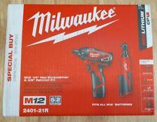 Milwaukee 2401-21R M12 12V Inalámbrico 3/8 en Trinquete & Destornillador. Kit Con Cargador