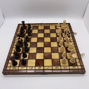"""Large Vintage Wooden Chess Set in A Wooden Box / Board King 2.5"""" Complete"""