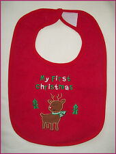 FIRST CHRISTMAS BABY BIB - Waterproof back - UNISEX 1st  Xmas Red Reindeer - NEW