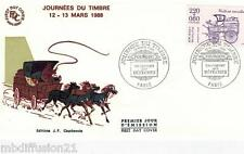 1988**FDC 1°JOUR!!**JOURNEE DU TIMBRE-VOITURE MONTEE**TIMBRE Y/T 2525