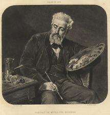 Édouard Louis Dubufe Portrait de Philippe Rousseau Gravure Gilbert XIXème