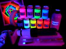 UV Creative Art & Craft Gift Pack - 9 Paints, UV Light, Canvas, Brushes, Primer