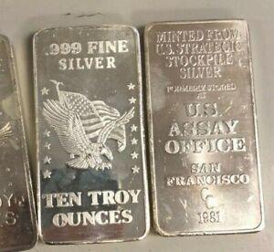 10 oz. Silver Strategic Silver Stockpile 10 troy oz .999 fine silver bar