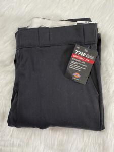 Women's Dickies 774F Flex Black Work Pants Straight Wide Leg Original Fit Sz 12R