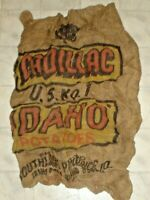 Vintage Cadillac U.S. No.1 Idaho Potatoes Burlap Sack, Bag Idaho Falls, Idaho X4
