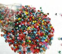 Rocailles Perlen Bunt 2mm 100g Glas Rund Mehrfarbig Opak Silbereinzug Z15#100g